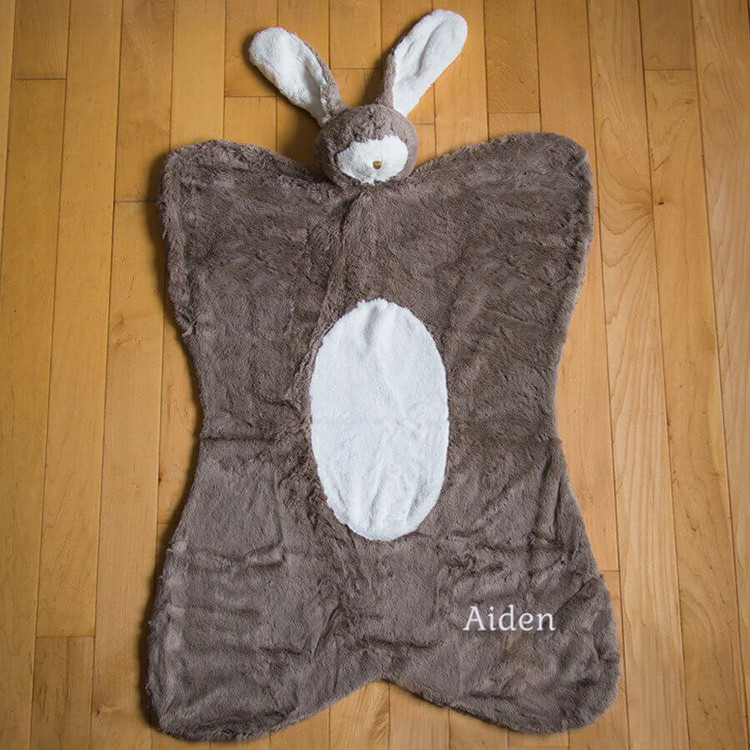 Embroidered Plush Bunny Baby Nap Mat