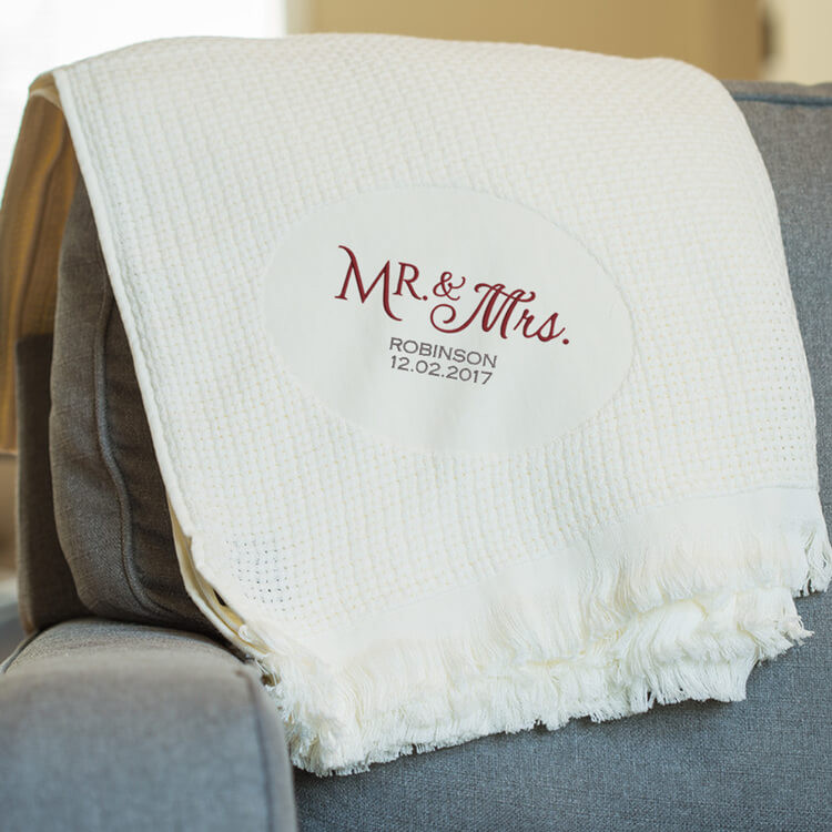 Embroidered Mr. & Mrs. Blanket