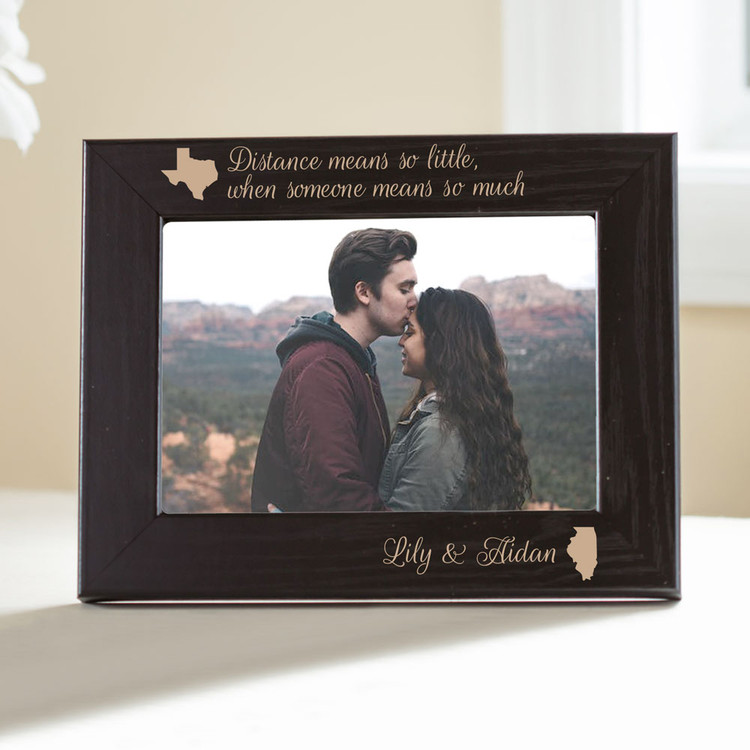 "Personalized Long Distance Relationship Picture Frame (""Black"")"