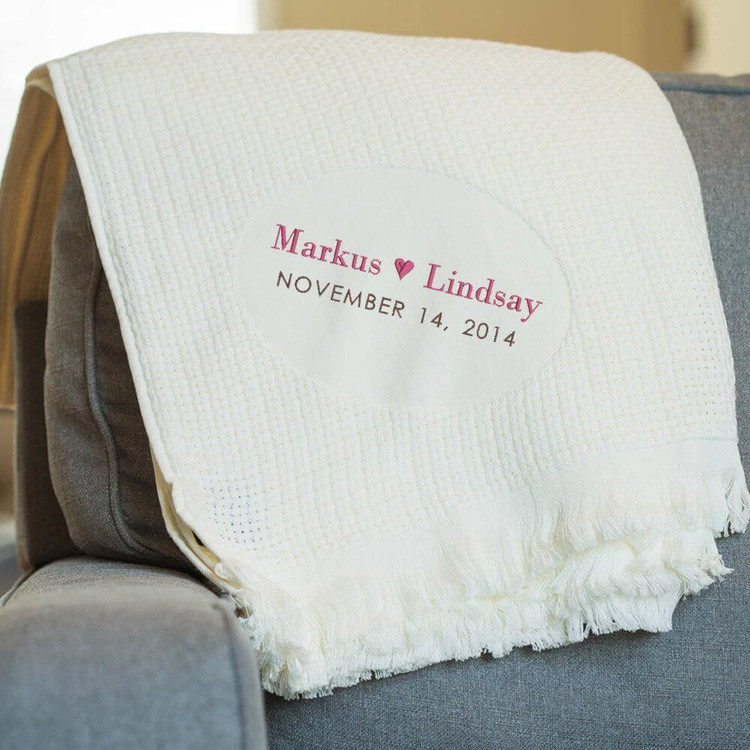Embroidered Couple's Anniversary Blanket