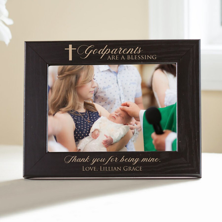 Personalized Godparent Picture Frame (Black)