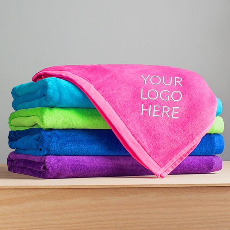 Bulk custom embroidered beach towels with logo
