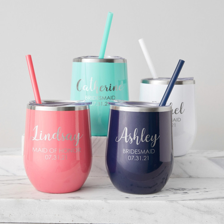 Personalized Engraved Bridesmaid Wine Tumbler