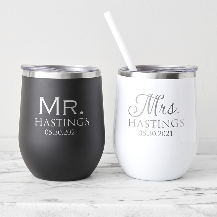 Personalized Mr. & Mrs. Wine Tumblers Pair