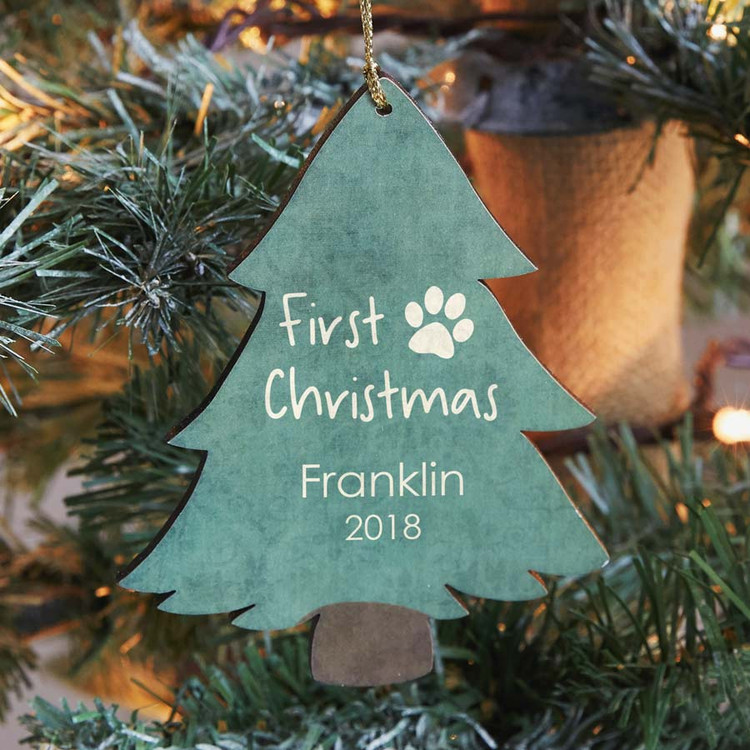 Personalized Dog's First Christmas Ornament
