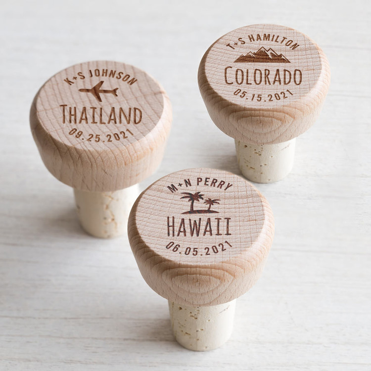 Personalized Destination Wedding Wine Stopper Favors