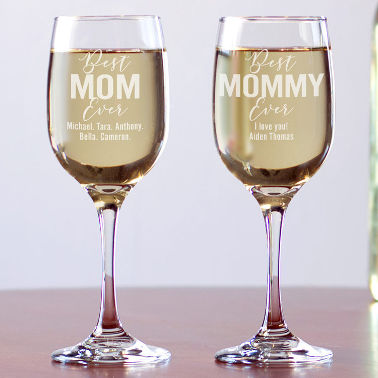 Engraved Best Mom Ever Wine Glass