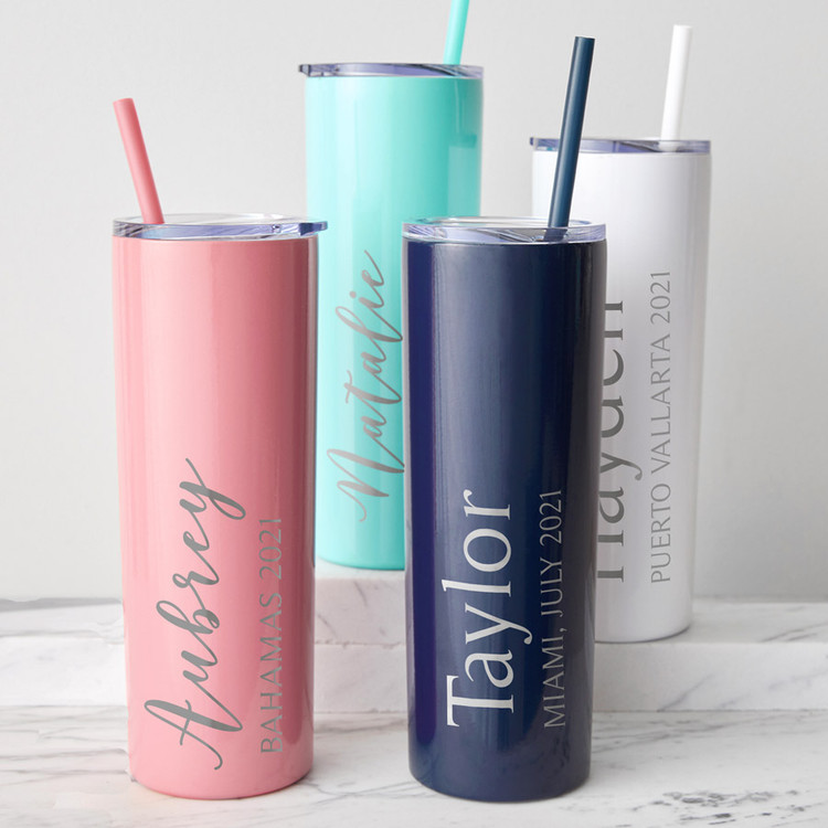 Personalized Vacation Skinny Tumbler With Straw
