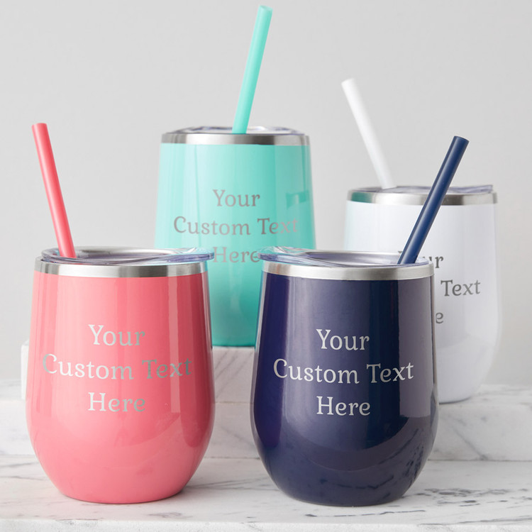 create your own personalized wine tumbler with straw & lid