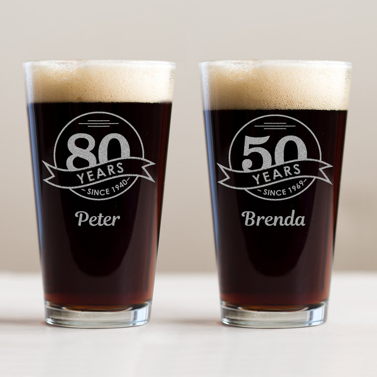 Personalized Birthday Milestone Pint Glass