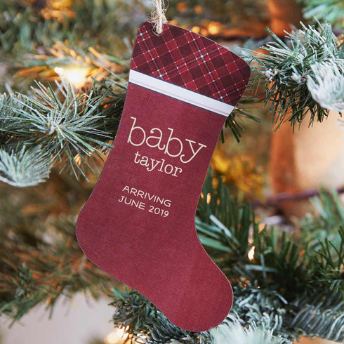 Personalized Pregnancy Announcement Ornament Stocking