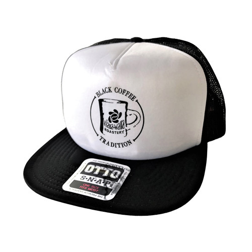 "WWR Trucker Hat, Black/White, ""BLACK COFFEE TRADITION"" Logo"