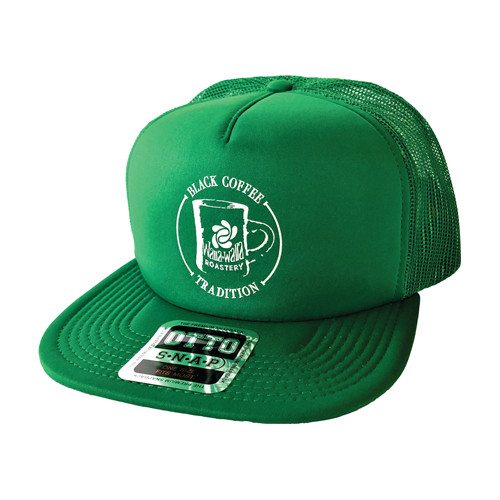 "WWR Trucker Hat, GREEN w/ WHITE ""BLACK COFFEE TRADITION"" Logo"