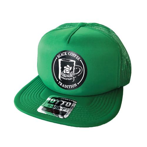 "WWR Trucker Hat, GREEN w/ BLACK ""BLACK COFFEE TRADITION"" Logo"