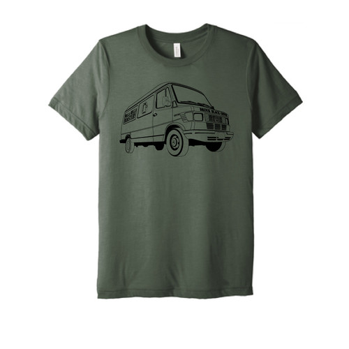 "WWR  Tri-Blend T-shirt, Military Green, ""Mercedes Delivery Van"""