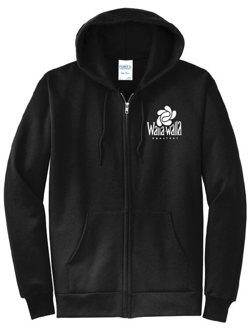 "WWR Full Zip Hoodie, Black, ""Black Coffee Tradition"""