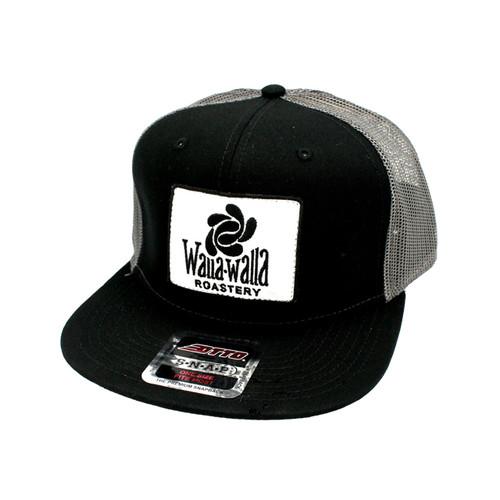 WWR Trucker Hat, Black/Charcoal Gray w/White Patch (Flat Bill)