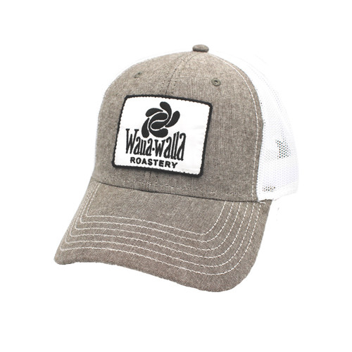 WWR Trucker Hat, Charcoal Gray/White with White Patch (Curved Bill)
