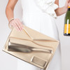 Alt Picture of Large 3D Champagne Pouch- Gold
