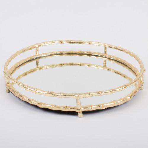 Tray Round Bamboo Mirror