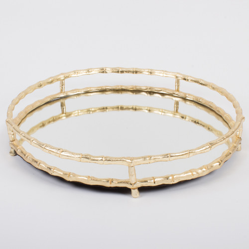 Gold Bamboo Round Mirrored Tray
