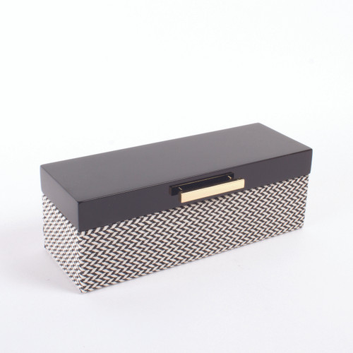 Picture of Jewelry Box Blk Chevron Lacq