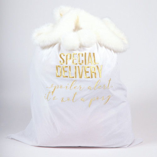 Picture of Velvet Santa Bag White