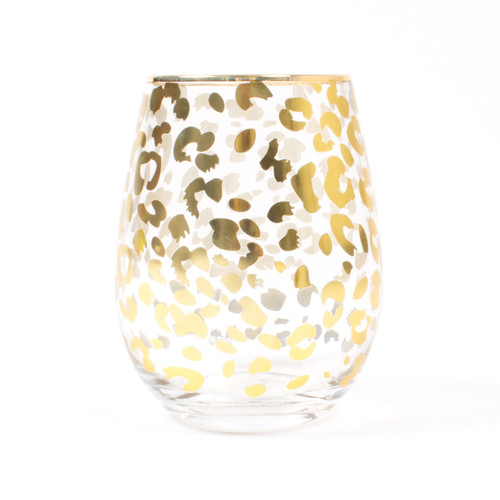 Stemless Wine Glass - Gold Leopard
