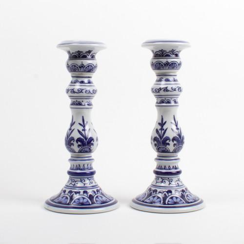 image of Large Blue Candle Stick Set