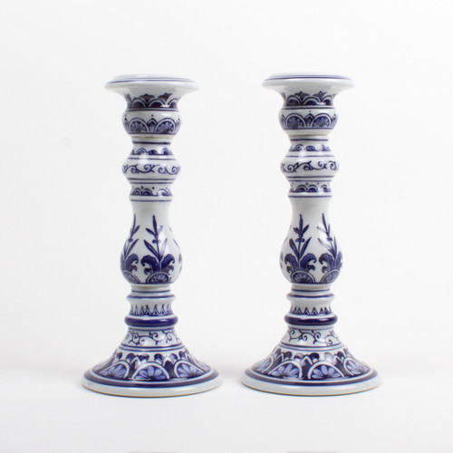 image of Large Blue Candle Stick Set