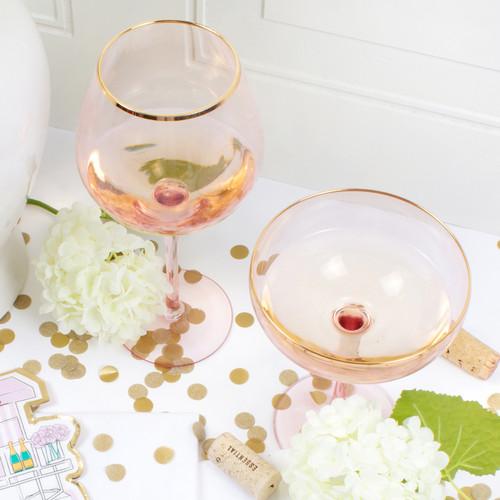 Stemmed Wine Glass- Pink