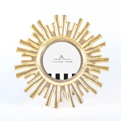 Gold Starburst Round Picture Frame