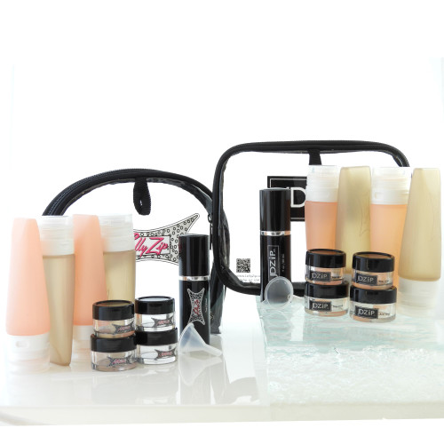 His and Hers Deluxe 25 pc Travel Kit, Silicone Bottles, Jars Spray Bottles