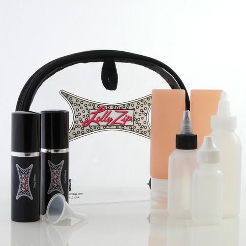 LollyZip 9 pc Travel Higher Refillable Silicone Bottles, Droppers and Spray Bottles
