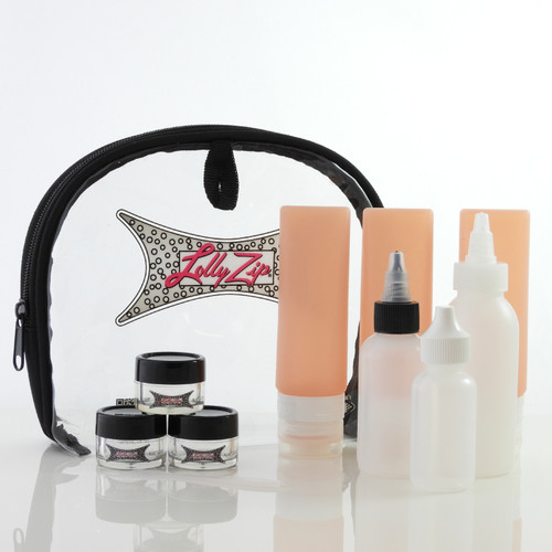 LollyZip Views Travel Kit 11pc Refillable Silicone Bottles, Contact Dropper Bottles, and Jars in Clear Quart Bag