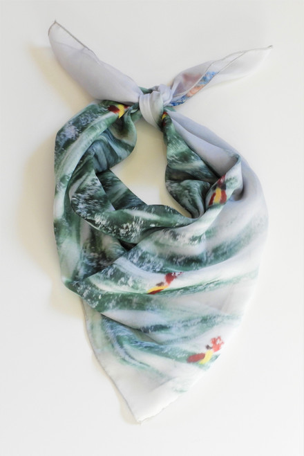 LollyZip Christmas Tree Scarf It's Crowded in There - Green, Grey, Red