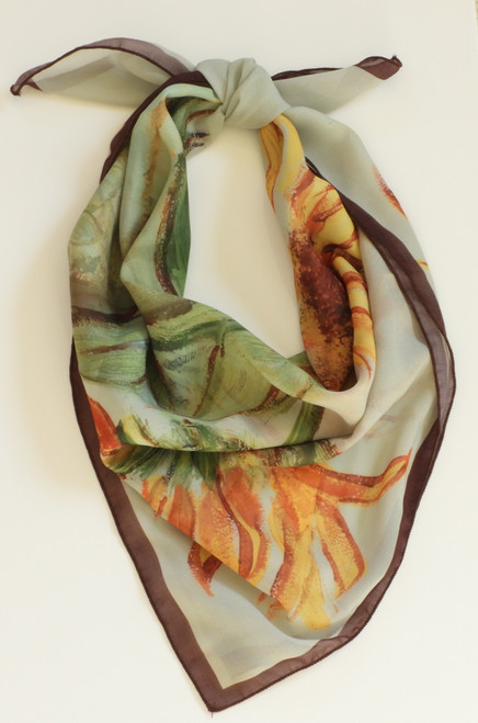 LollyZip Scarf Sunflowers 101 - Yellow, Gold, Rust, Green, Brown, Grey