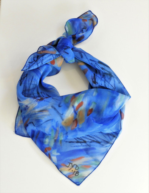 LollyZip Scarf Chicken Party-Blue, White, Red, Multi