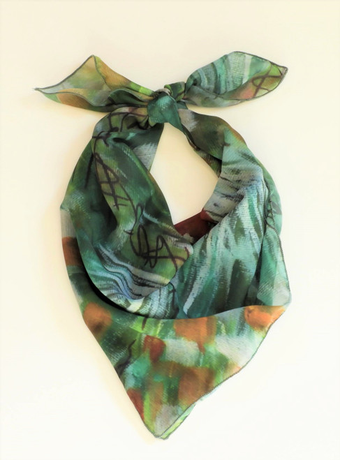 LollyZip Scarf Chicken Party Goes Green - Green, Red, White, Multi
