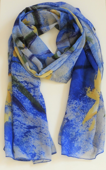 LollyZip Scarf Backyard Irises I - Blue, White, Yellow
