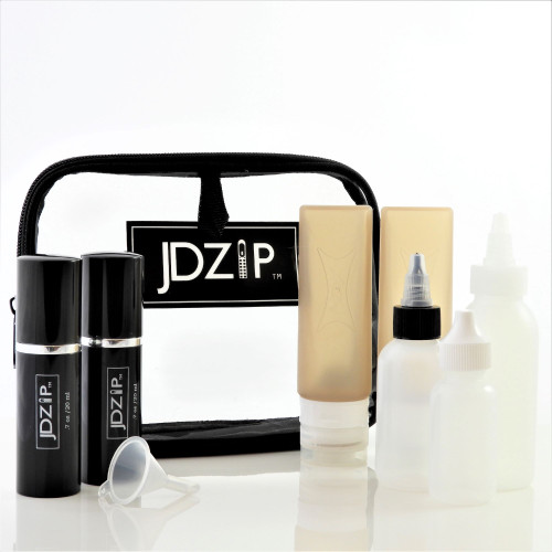 JDZip Higher 9pc Travel Kit with Refillable Silicone, Spray and Contact Dropper Bottles in Quart Size Bag