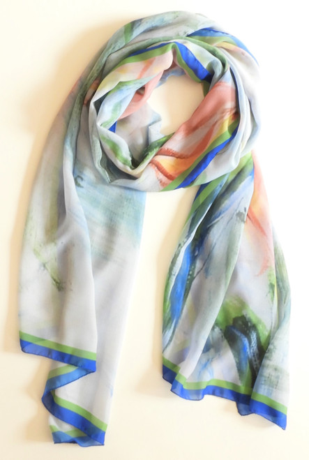 Long chiffon scarf in soft apricot tulips