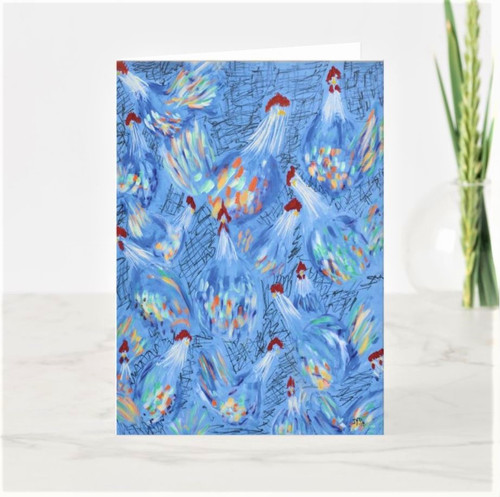 Artful Note Card - Chicken Party