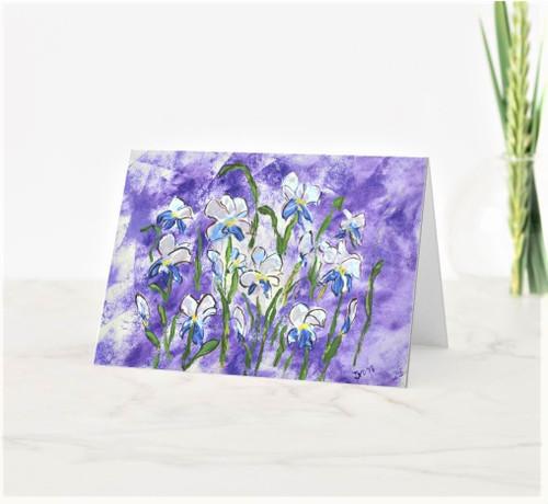 Artful Note Card - Backyard Irises Purple Bliss