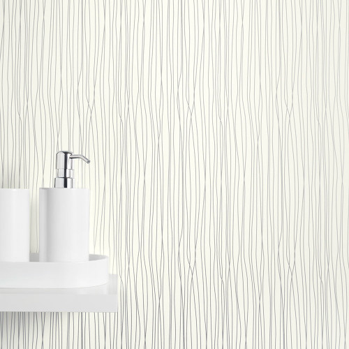 Ancona White Silver String PVC Waterproof Shower Panel Room