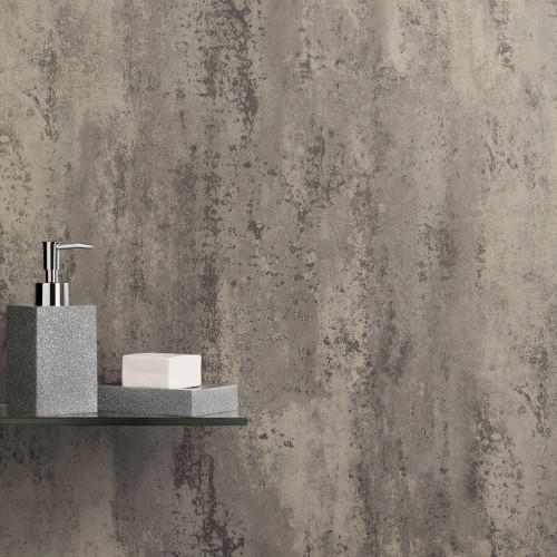 Ancona Grey Retro Metallic PVC Waterproof Shower Panel Room