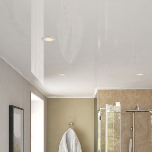 Room Style of Ancona Single White Gloss PVC Ceiling Panels