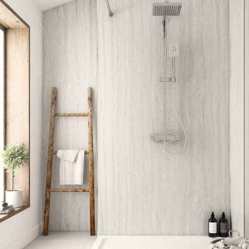 Travertine Silver Nuova Laminate Shower Panel Room Style