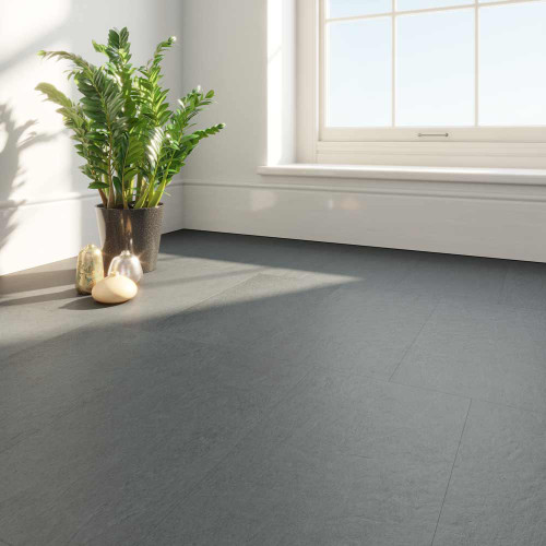 Clixeal Black Slate Vinyl Floor Tiles Room Decor