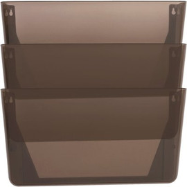 Sparco Mountable Wall File Pockets, Smoke, 13.1x14.8x4.3 In., Three Per Pack